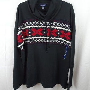 CHAPS HOLIDAY Christmas Snowflake Cowl Neck XXL